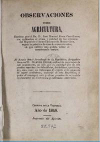 Portada de Observaciones sobre la Agricultura de Pérez Castellano